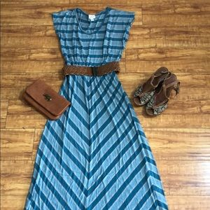 Anthropologie teal and gray striped maxi dress